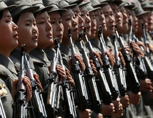 Longer view: Soldiers march past the podium during a military parade in Pyongyang