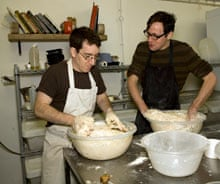 Tim Lewis being taught how to mix dough by Baker Eyal Schwartz