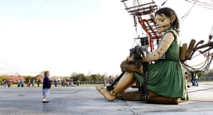Liverpool Royal de Luxe: Emmy-Lou Hussin, 5, looks at the Little Girl Giant