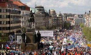 Anti-government protesters gather in Wenceslas Square in Prague