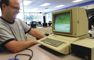 Home computers: An Apple IIE manufactured from 1983 to 1985, with the game Frogger