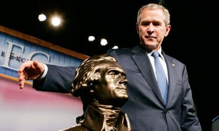 President George W Bush speaking to Alec 2005