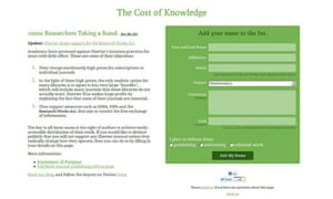 Cost of Knowledge website