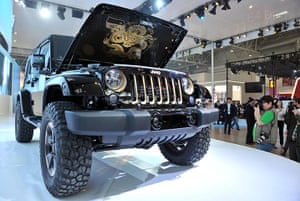 Beijing motor show: A Jeep Wrangler concept car is displayed