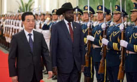 South Sudan's President Salva Kiir with China's President Hu Jintao in Beijing, China