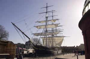 Cutty Sark: The Cutty Sark sits in its dry dock in Greenwich in 2003