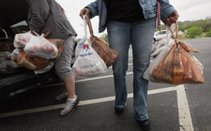 Booneville, Kentucky: Owsley County Outreach Centre workers carry food to be delivered