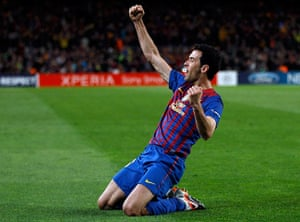 Barcelona v Chelsea: Barcelona's Busquets celebrates after scoring a goal agaisnt Chelsea