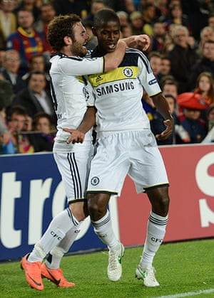 Barcelona v Chelsea: Ramires celebrates after scoring
