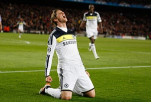 Barcelona v Chelsea: Fernando Torres celebrates scoring against Barcelona