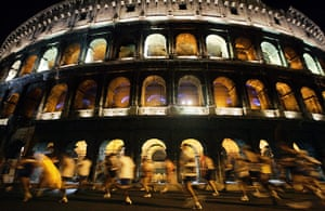 50 moments: Competitors run past the ancient Roman Colosseum