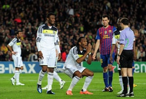 Barcelona v Chelsea: Didier Drogba of Chelsea pleads with Referee Cuneyt Cakir