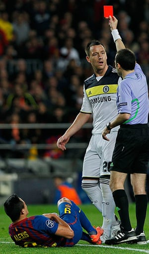 Barcelona v Chelsea: John Terry receives a red card