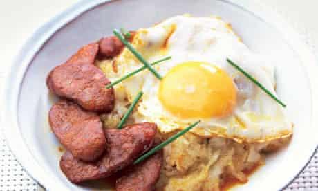 Gizzi Erskine's Filipino fried rice with fried eggs and chorizo