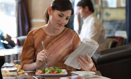 A woman in a restaurant