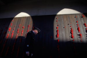 Anzac Day: A soldier visits the Roll of Honour at the Australian War Memorial Canberra