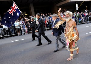 Anzac Day: A veteran from Papua New Guinea marches with fellow veterans in Sydney