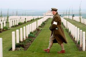 Anzac Day: Jose Sanchez of France, in a First World War uniform in Villers-Bretonneux