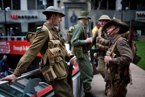 Anzac Day: Soldiers in uniforms for the Anzac Day parade in Brisbane