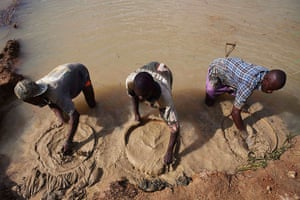 Sierra Leone after Taylor: Artisanal miners pan for diamonds, which fuelled the 1991-2002 civil war
