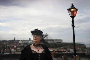 Goths: A Goth lady makes her way up to the Abbey during Whitby Gothic Weekend