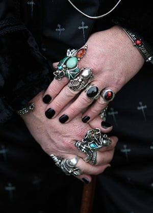 Goths: The bejeweled hands of goth Tony Lightowler at the Whitby Goth Weekend