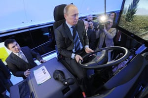 Picture Desk Live: Putin drives a locomotive simulator