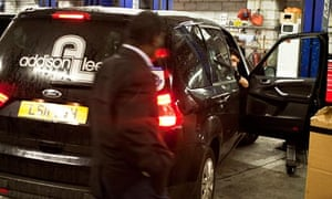 Addison Lee taxi being serviced