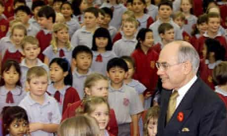 John Howard visiting a primary school in Sydney