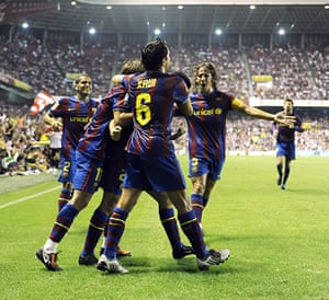 Guardiola resigns: Barcelona team celebrate their second go