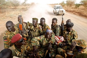 South Sudan: South Sudan's army (SPLA) soldiers drive in a truck in Panakuach