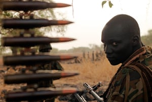 South Sudan: A South Sudan's army (SPLA) soldier sits in a truck in Panakuach
