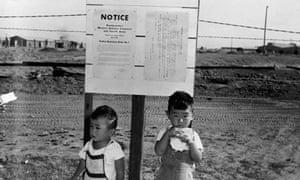 Japanese American children outside California internment camp