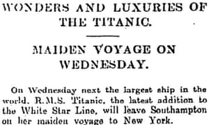 Titanic provisions Manchester Guardian, 7 April 1912