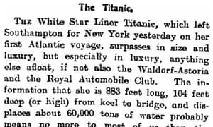 Titanic, Manchester Guardian, 11 April 1912