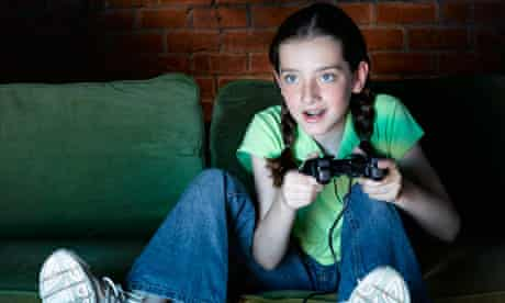 Girl playing video games