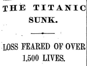 Titanic sunk, Manchester Guardian, 16 April 1912
