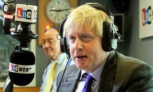 """Ken Livingstone and Boris Johnson at a London mayoral election debate on 3 April 2012."""