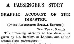 Titanic, Manchester Guardian, 20 April 1912