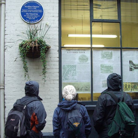 Chaucer plaque in Talbot Yard off Borough High Street, London