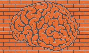 Brain in brick wall illustration