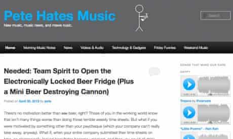 Music blog Pete Hates Music