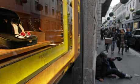 Man begs in Milan