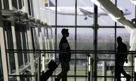 Man walking through airport