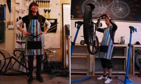 London Bike Kitchen: Jenni Gwiazdowski, LBK director and Phil Moore, one of the bike mechanics