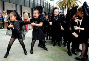 Holy Week: Young girls wear the traditional black mantillas