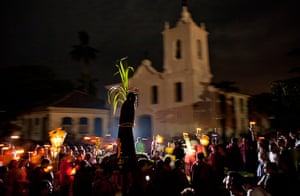 Good Friday traditions: Rio de Janeiro, Brazil: Hundreds of faithful participate in a procession