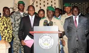 Coup leader Captain Amadou Sanogo delivers statement to return power, Mali - 06 Apr 2012