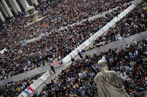 Easter Sunday: Faithful stand at St Peter's square during the Easter Holy Mass