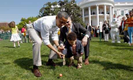 Barack Obama at the annual Easter Egg Roll at White House